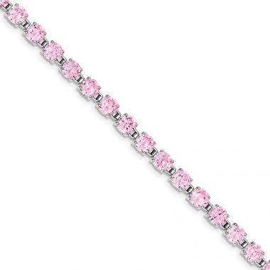 Quality Gold Sterling Silver Rhodium-plated 7 inch Pink CZ Bracelet