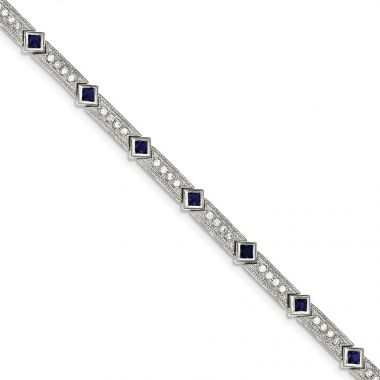Quality Gold Sterling Silver Blue and Clear CZ Bracelet