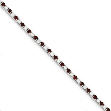 Quality Gold Sterling Silver 7inch Red and White CZ Bracelet