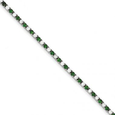 Quality Gold Sterling Silver 7inch Green and White CZ Bracelet