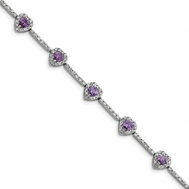 Quality Gold Sterling Silver Rhodium-plated Amethyst and Clear CZ Heart Bracelet