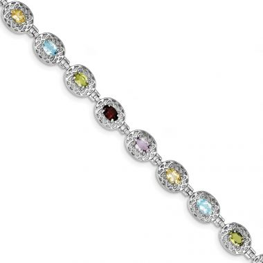 Quality Gold Sterling Silver Rhodium Plated 6.5inch Multicolored Gemstone Bracelet