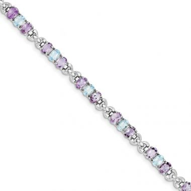 Quality Gold Sterling Silver Rhodium-plated Amethyst and Blue Topaz Bracelet