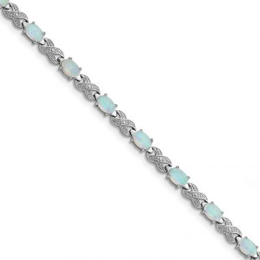 Quality Gold Sterling Silver Rhodium Plated 7inch Created Opal & Illusion Bracelet