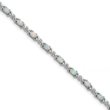 Quality Gold Sterling Silver 7inch Rhodium Plated White Created Opal and CZ Bracelet
