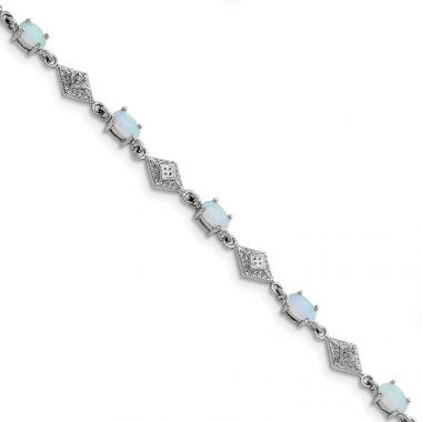 Quality Gold Sterling Silver Rhodium Plated White Created Opal and CZ Bracelet