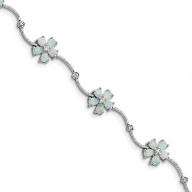 Quality Gold Sterling Silver Rhodium-plated 7inch Created Opal & CZ Flower Bracelet