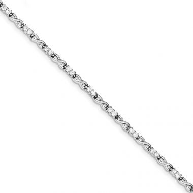 Quality Gold Sterling Silver Rhodium-plated CZ  Infinity Bracelet