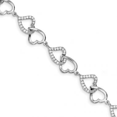 Quality Gold Sterling Silver Rhodium-plated CZ Heart Bracelet