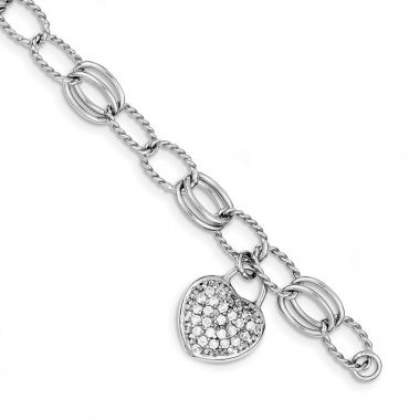 Quality Gold Sterling Silver Rhodium-plated CZ Heart Dangle Bracelet
