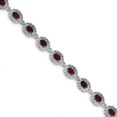 Quality Gold Sterling Silver Rhodium Plated Garnet Filigree Bracelet