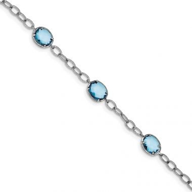 Quality Gold Sterling Silver Rhodium Plated Aqua Blue CZ Textured Link Bracelet