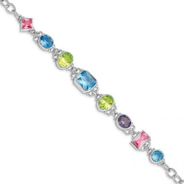 Quality Gold Sterling Silver Rhodium Plated 7.5inch Multicolored CZ Bracelet