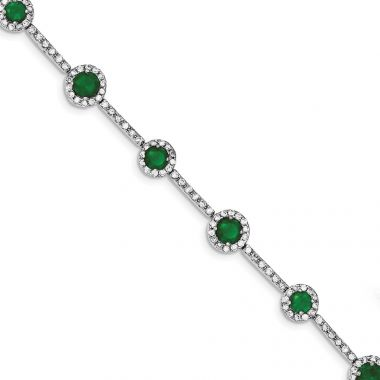 Quality Gold Sterling Silver Rhodium-plated 7.25inch Green and Clear CZ Bracelet