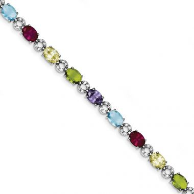 Quality Gold Sterling Silver 7inch Multicolor CZ Bracelet