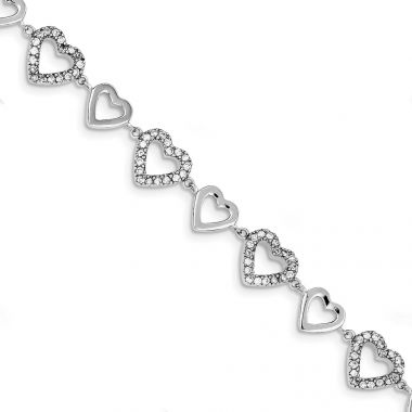 Quality Gold Sterling Silver Rhodium-plated 7in Polished & CZ Hearts Bracelet