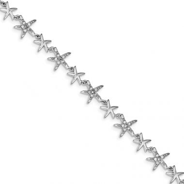 Quality Gold Sterling Silver Rhodium 7.25in Alternating Polished & CZ Starfish Bracelet