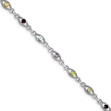 Quality Gold Sterling Silver 7in Rhod Plated Multicolored Gemstone Link Bracelet