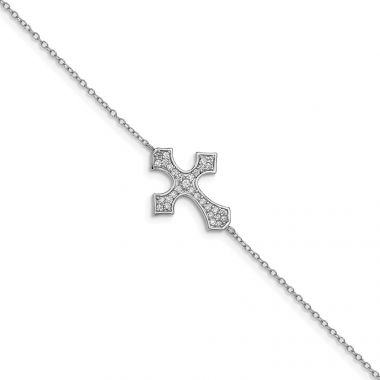 Quality Gold Sterling Silver Rhodium-plated CZ Cross Bracelet