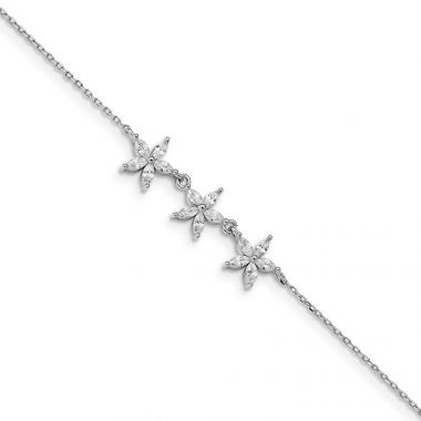Quality Gold Sterling Silver Rhodium-plated CZ Flower Bracelet