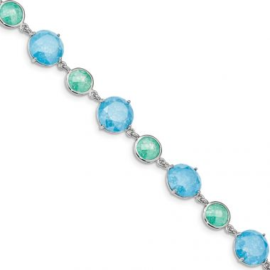 Quality Gold Sterling Silver Rhodium-plated Green Blue Ice CZ  Bracelet
