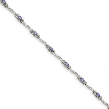 Quality Gold Stering Silver Polished Tanzanite 7.5 inch Bracelet