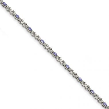 Quality Gold Sterling Silver Polished Tanzanite Xs 7.5 inch Bracelet