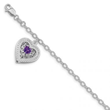 Quality Gold Sterling Silver Rhodium-plated Purple CZ Heart Link Bracelet