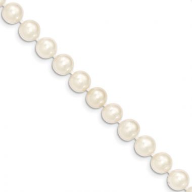 Quality Gold 14k White Near Round Freshwater Cultured Pearl Bracelet