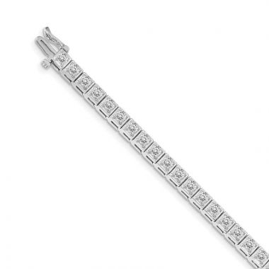 Quality Gold 14k White Gold AAA Diamond Tennis Bracelet