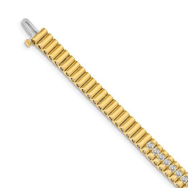 Quality Gold 14k Yellow Gold  2.4mm Diamond Tennis Bracelet