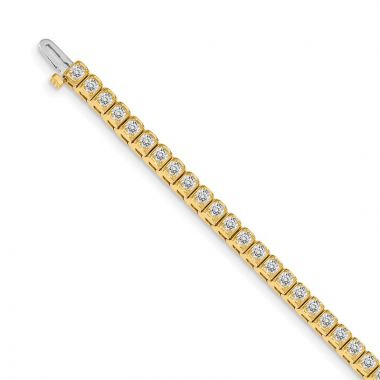 Quality Gold 14k Yellow Gold AAA Diamond Tennis Bracelet