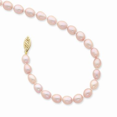 Quality Gold 14k Pink Rice Freshwater Cultured Pearl bracelet