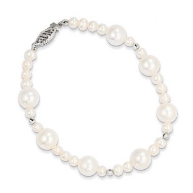 Quality Gold 14K WG White Near Round Freshwater Cultured Pearl Bead Bracelet