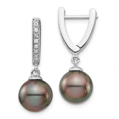 Quality Gold 14k Round Saltwater Cultured Tahitian Pearl Dangle Earrings