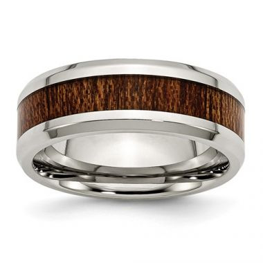 Chisel Stainless Steel Polished Brown Wood Inlay Enameled 8.00mm Men's Ring