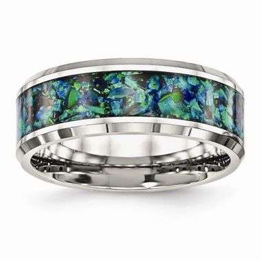Chisel Stainless Steel Polished With Blue Imitation Opal 8mm Men's Ring