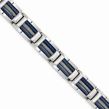 Chisel Stainless Steel Polished W/Blue IP Cable Bracelet