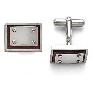 Chisel Stainless Steel Polished Wood Inlay Cufflinks