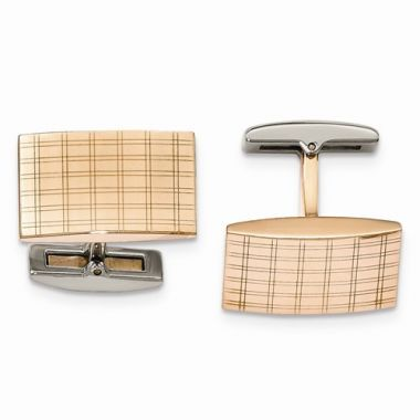 Chisel Stainless Steel Polished Rose IP Plated Laser Design Cufflinks