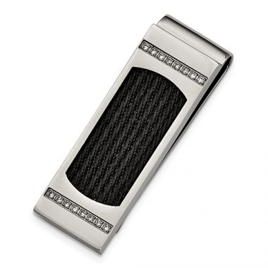 Chisel Stainless Steel Polished Black IP-Plated Wire With CZs Money Clip