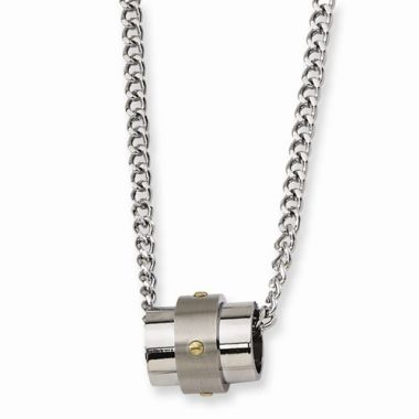 Chisel Stainless Steel Yellow IP-Plated Accent Necklace