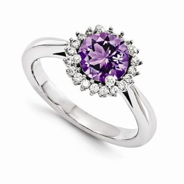Quality Gold 14K White Gold AAA Diamond Semi-Mount Gemstone Ring