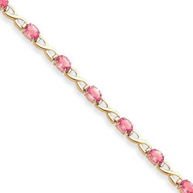 Quality Gold 14k Yellow Gold 7x5mm Oval Pink Sapphire Bracelet