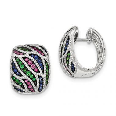 Quality Gold 14k White Gold Diamond, Garnet & Sapphire Hinged Post Earrings